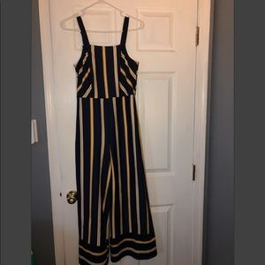 WORN ONCE navy and yellow jumpsuit